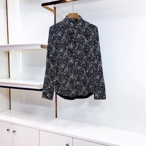 Camisa 20SS Nueva Estrella completa puntos impresos de manga larga de seda de moda de la calle camisa Pareja hombres y de mujeres de alta calidad de la camiseta HFXHTX348