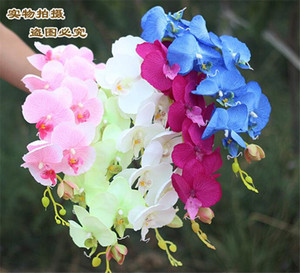 """100pcs Popular white Phalaenopsis Butterfly Orchid flower 78cm 30.71"""" Length 10Pcs lot 7 Colors Artificial Phalaenopsis for Wedding free shi"""