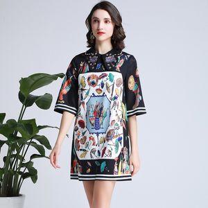 710 XL 2020 브랜드 똑같은 스타일 드레스 비즈 크루 넥 여성 의류 플로라 인쇄 메쉬 럭셔리 패션 드레스 Yimi
