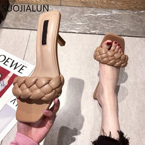 SUOJIALUN Summer New Design Weave Women Slipper Square Toe High Quality Leather Gladiator Sandals Ladies Outdoor Dress Slides Y200624