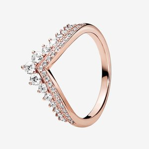 Rose gold plated Princess Wishbone Ring Women Girls Wedding Jewelry for Pandora Sterling Silver CZ diamond Rings with Original box