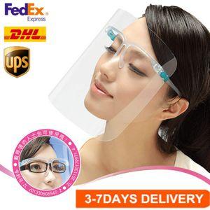 EE.UU. stock de seguridad y careta vasos reutilizables gafas de escudo facial visera transparente de la capa anti-niebla ojos protege de las salpicaduras
