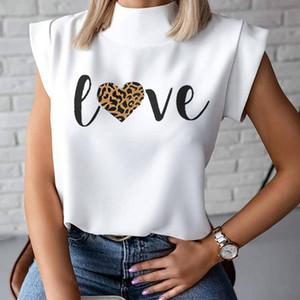 Lips Stampa camicetta delle donne camicia 2020 Estate stand casuale pullover collo donne eleganti parti superiori di modo delle signore camicetta a maniche corte Blusa