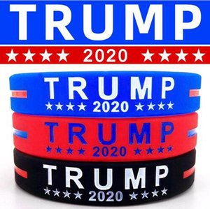 DHL SHip Trump Silicone Wristband Rubber Support Bracelets Bangles Make America Great Donald Trump 2020 Jewelry Party Favor