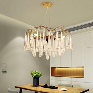 Oda kolye Işık Su damlacıkları Tavan Işık PA0098 Yemek Lüks Altın Ağacı Kristal LED Avize Ev Salon