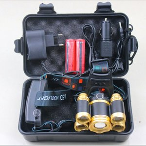 yunmai 5 LED Faro nueva T6 + 4 * XPE Faro 20000 Cabeza LED lúmenes de la lámpara del campo Caminata luz de emergencia de pesca al aire libre Equipo Q10