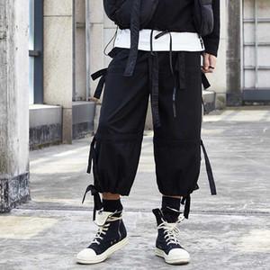 Мужчины лето Япония Стиль Vintage повседневные брюки Сыпучие пояса готические Dark Негабаритные High Street Streetwear шаровары Jogger Elastic