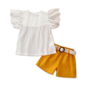 Ins sweet girls suits Summer fashion girls outfits lace Blouse Tops+shorts+belts 3pcs set princess kids suits girls wear 2-7Y