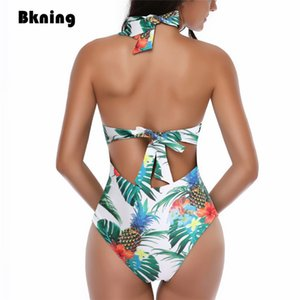 Large Size Swimsuit One Piece Bathing Suits for Women Swimwear Female 2020 Bandage Floral Print One-piece Bikini Woman Plus New MX200613