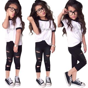Tops Ripped Pants Cut Trousers 2pcs Outfits Set 2PCS Cute Baby Kids Girls Summer Clothes Sets Fashion Outfits 1-7 Years B437