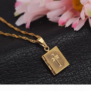 J Bible 14k Yellow Fine Gold Gf Box Open Pendant Necklace Chains Crosses Jewelry Christianity Catholicism Crucifix Religious