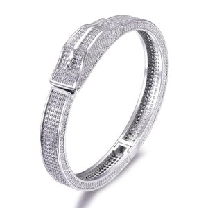 Men's Iced Out Heavy Cubic Zircon Personality Micro Paved Bling CZ Bangle Bracelet For Men Women Hip Hop Rapper Jewelry
