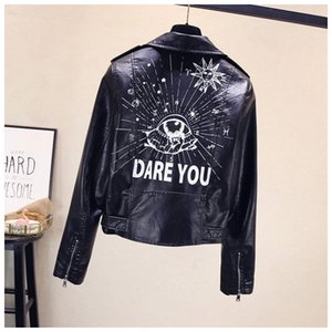 Fashion Womens Punk Wind Lapel Jacket Women's Pu Leather Printing Motorcycle Jacket Coats Designer Women Rivet Short Coat Size S-XL