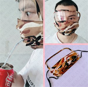 2 in1 Camouflage Viso paglia mascherina mascherine anti-nebbia completa protettiva viso Hole Zipper Protezione Facciale regolabile in bicicletta Maschera facile da bere caldo D72306