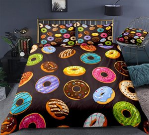 3 Pieces Colorful Donuts Duvet Cover Set Colorful Donuts Bedding Kids Boys Girls Quilt Cover Queen Bed Set Pink Dropship