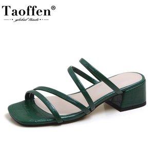 Taoffen New Women Sandals Pu Couro brilho Mulheres Verão sapatos de festa Sandals Mulher Moda Thick alta Calçado Tamanho 34-40