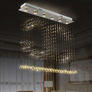 FUMAT الجديدة كريستال K9 الكرة سقف مصباح غرفة الطعام الثريا الحديثة المطر قطرة تركيبات الإضاءة قلادة 2C نموذج GU10 LED الضوء