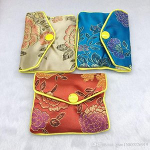 12 PCS عالية الجودة الحرير والمجوهرات حقيبة محفظة هدية الاكسسوارات والمجوهرات هدية كيس 80 x65mm عشوائي لون مختلطة