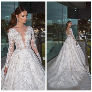 Luxury Long Sleeves A Line Lace Appliques Wedding Dresses Modest Custom Made Long Princess Bridal Gowns