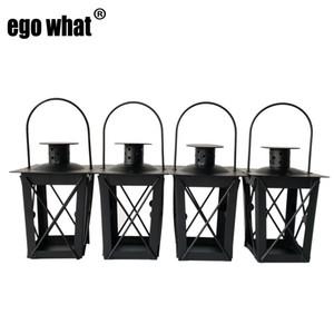 Stile classico in metallo a buon mercato Souvenir Holder Holder House Tea Light Holder Decorazione di cerimonia nuziale Lanterna in ferro Colore nero Candela