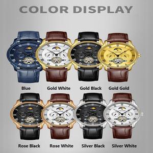 New Design Top Brand Tevise New Men Watch Automatic Mechanical Watch Moon phaseTourbillon Sport Wristwatch Leather Strap Masculino