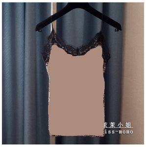 2020 new fashion women's sexy spagheti strap letter print v-neck vest camisole loose eyelash lace patched velvet tank tops