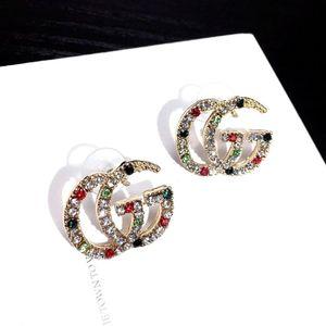 925 silver needle Korean light luxury letter earrings hot style retro palace color diamond stud earrings fashion G trend earrings