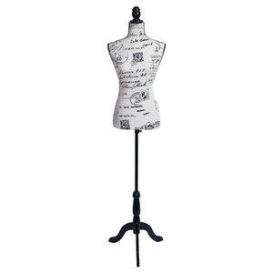 Kadın Manken Torso Elbise Mektubu Desen Formu Ekran W / Tripod Standı Tasarım