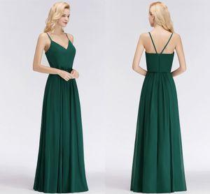 الظلام الأخضر رخيصة وصيفة الشرف فساتين مثير السباغيتي الأشرطة الخامس الرقبة طول الطابق طول الفستان الزفاف خادمة الشرف أثواب 34 الألوان