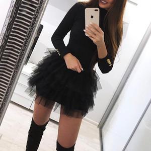 Solid Organza Spliced Mini Dress Blazer Dress Women Dress