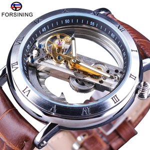 Forsining Minimalism Design Leder Transparent Skeleton Männer Uhr-Spitzenmarken Luxus Steampunk mechanische automatische Armbanduhr