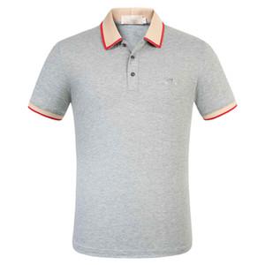 2020 venta caliente de la camisa de polo de algodón nuevo verano los hombres se niegan cuello alto de la marca jirafa estilo social informal camisa de polo de los hombres del te del bordado de los hombres