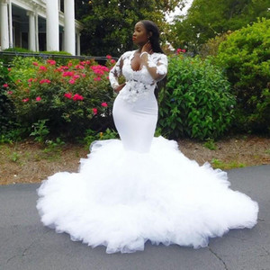 2020 African Mermaid Wedding Dresses Ruffles 3D Lace Appliques Plus Size Wedding Dress Illusion Long Sleeves Bridal Gowns vestidos de novia
