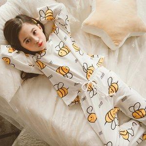 Kızlar Pijama Çocuk Ev Hizmetleri ayarlar 2020 İlkbahar Yeni Karikatür Büyük Kızlar Takımı Prenses Uzun Kollu Sleepwear Güz CX200731 pijamalar yazdır