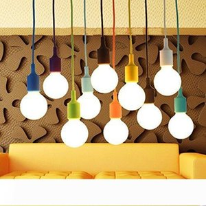 Art Silicone Home Ceiling Pendant Lamp Light Bulb Holder Hanging Fixture base Socket American Modern retro single head Colorful