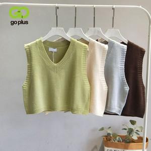 GOPLUS Mulheres V-Neck malha Vest 2020 Sweater Outono Nova Primavera Vest feminino curto sem mangas Casual torção Knit Pullovers C9510