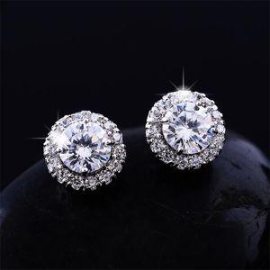 2018New Arrival Best Friends 18K White Gold Plated Earings Big Diamond Earrings for Women White Zircon Earrings