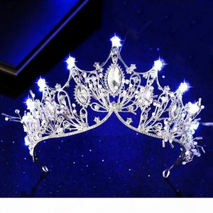 F New Various Luminous Tiaras Crowns For Birde Blue Light Led Crown For Women Party Wedding Headpiece Hair Ornaments Crystal Tiara C181