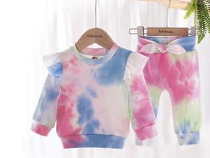 아기 넥타이 염색 의류 소녀 긴 소매는 + 활 바지 2 개 / 세트 탑 세트 2020 새로운 가을 패션 부티크 어린이 의상