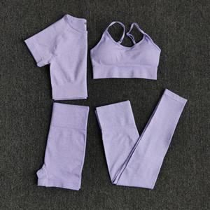 2/3 / 4PCS Yoga Seti Egzersiz Sorunsuz Kadınlar Spor Salonu Giyim Spor Suit Spor Kısa Kollu Crop Top Yüksek Bel Tozluklar