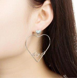Женские серьги сладкое и прекрасное полый персик сердце письмо преувеличена любовь серьга WY1490