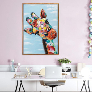 Curious Giraffe Animal Poster Art Prints Abstract Wall Art Graffiti Canvas Oil Painting Modern Wall Pictures for Kids Room Home Decoration