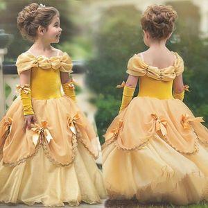 YIWA Menina elegante vestido bonito Desempenho Tutu Princess Dress Natal Halloween com as luvas do partido do vestido de casamento Vestidos Robe Fille