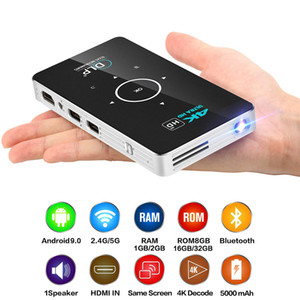 C6 Mini Projecteur 4K Proyector DLP Android 9.0 Projetor WiFi Bluetooth 4.0 LED Vidéo Home Cinéma Support Miracast Airplay
