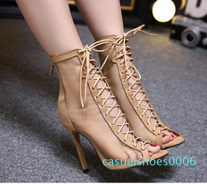 2017 meshy breathable lace up sheos sexy women high heels peep toe ankle bootie beige black size 35 to 40 c06