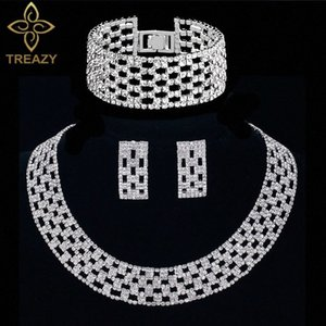 TREAZY Crystal Fashion nupcial Declaração Conjuntos de Jóias Gargantilha Colar Brincos Bracelet para as Mulheres casamento Africano Jóias Define pxLa #