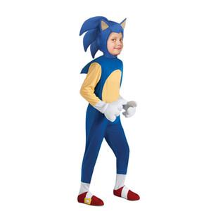 New llegaron carácter Niños Deluxe Sonic The Hedgehog traje de cosplay juego de los niños disfraces de Halloween para los niños 3 piezas fijaron el equipo de fantasía