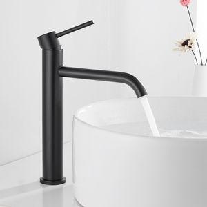 Alta Cuenca del grifo Baño Negro / cepillado / blanco Taps lavar a mano la cara monomando de lavabo con grifos de manguera HOTBEST