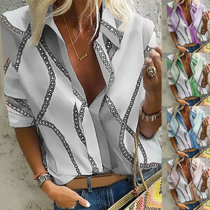 New Autumn Women Tops Fashion Print Floral Shirts Ladies Elegant Turn-down Collar Blouses Female Casual Loose Shirt For Women