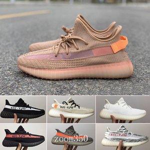 (With Box) 2019 New Men Women Running Shoes Static Black Bred Cream White Sesame Kanye West V2 Sports Sneakers eur 36-46 NDF5W